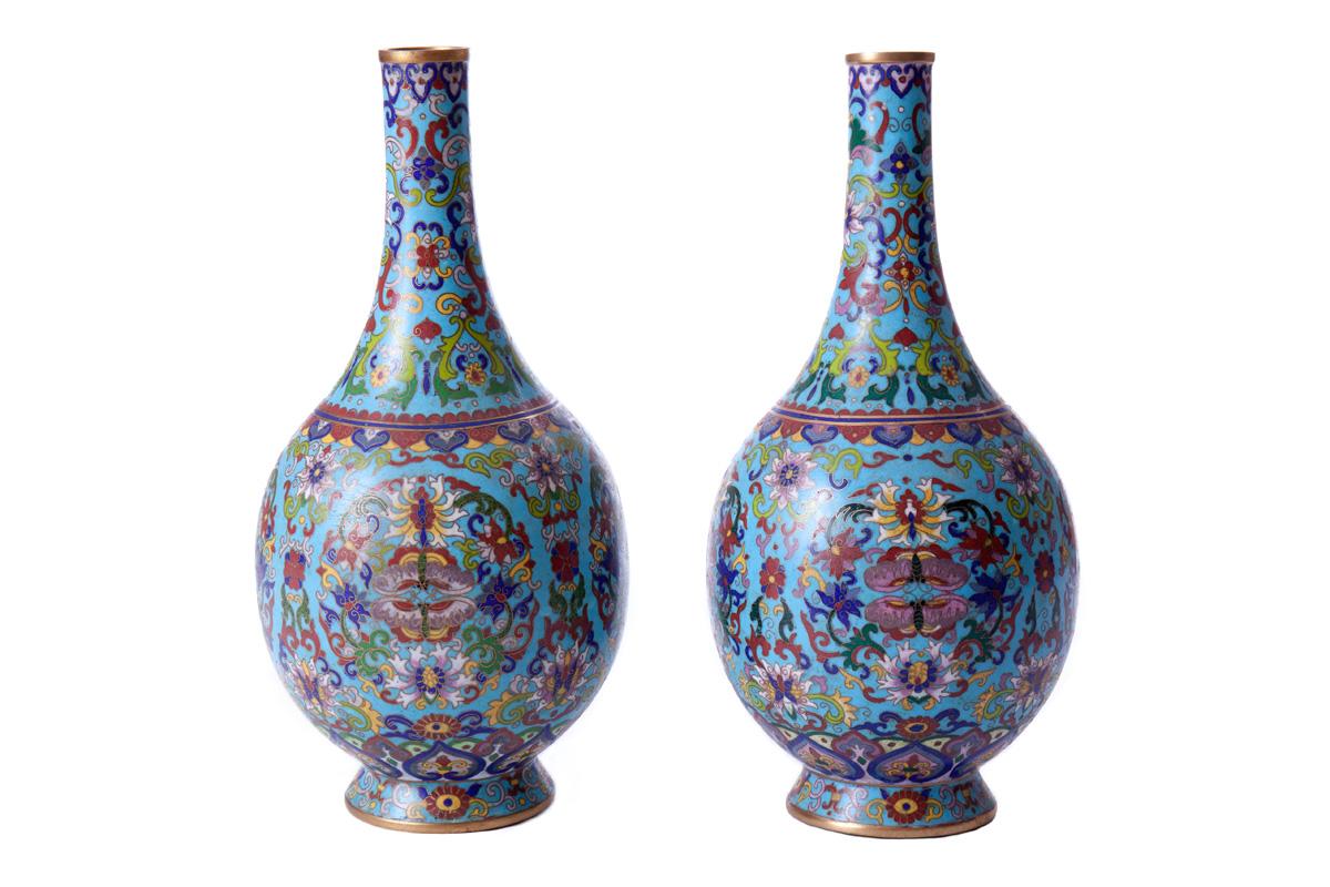 Парные вазы в восточном стиле, 26.5 см