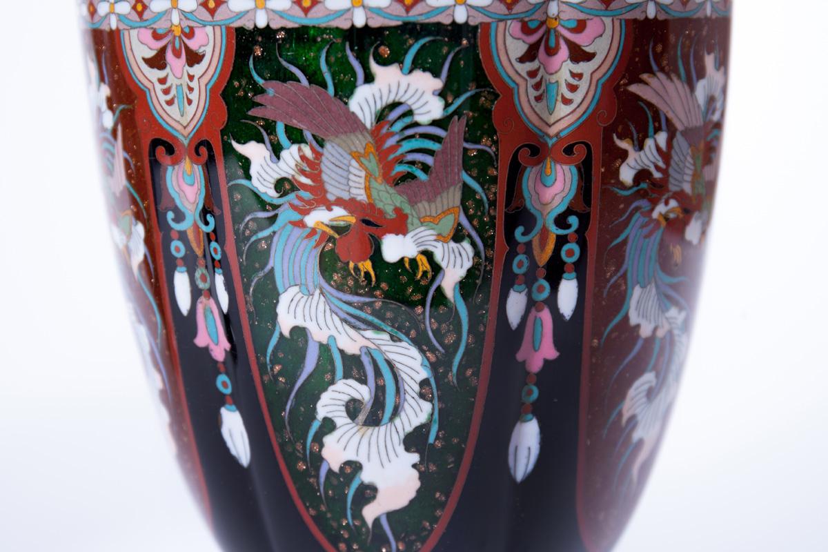 Парные вазы с изображением птицы Феникс, 37 см