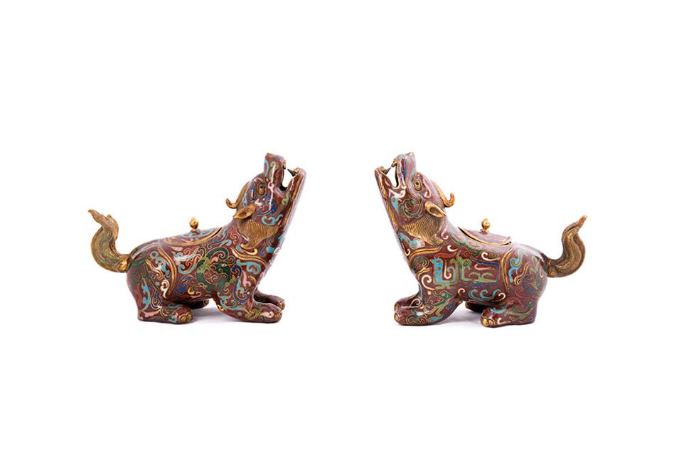 Пара собак FOO клуазоне со съемными крышками, 15 см