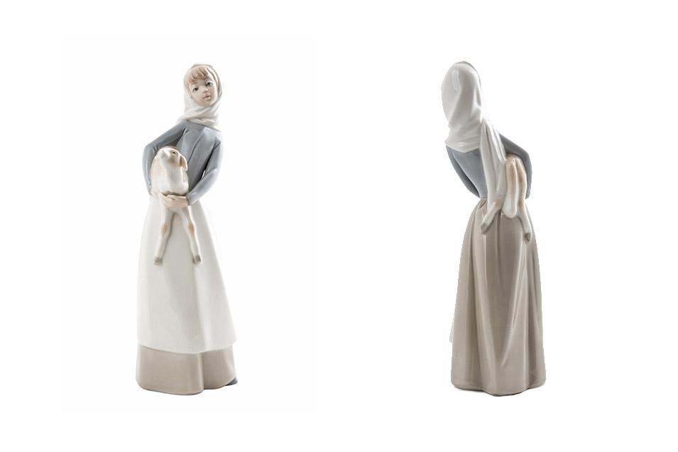 """Статуэтка Lladro """"Девушка держащая овечку"""", 28 см"""