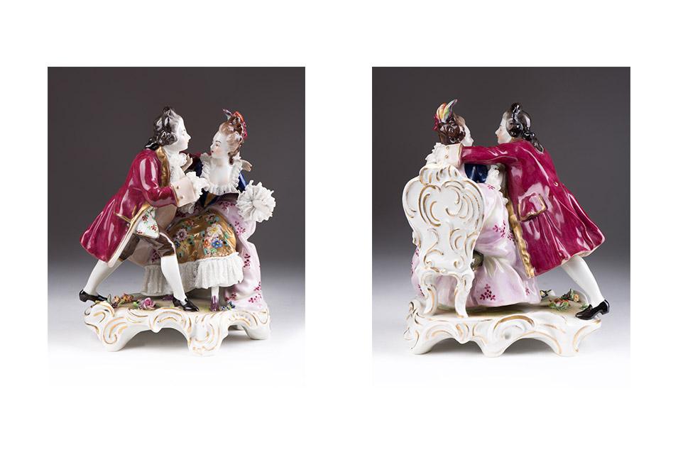 "Сюжетная статуэтка с галантной парой мануфактуры ""Aelteste Volkstedt"", 15.5 см"