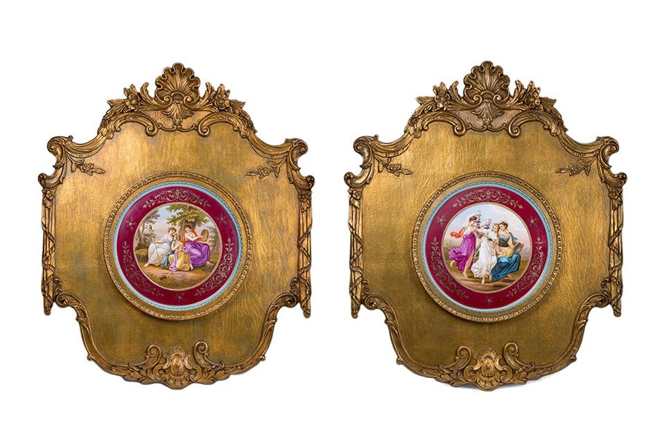 Пара настенных панно в стиле Royal Vienna, 89 см