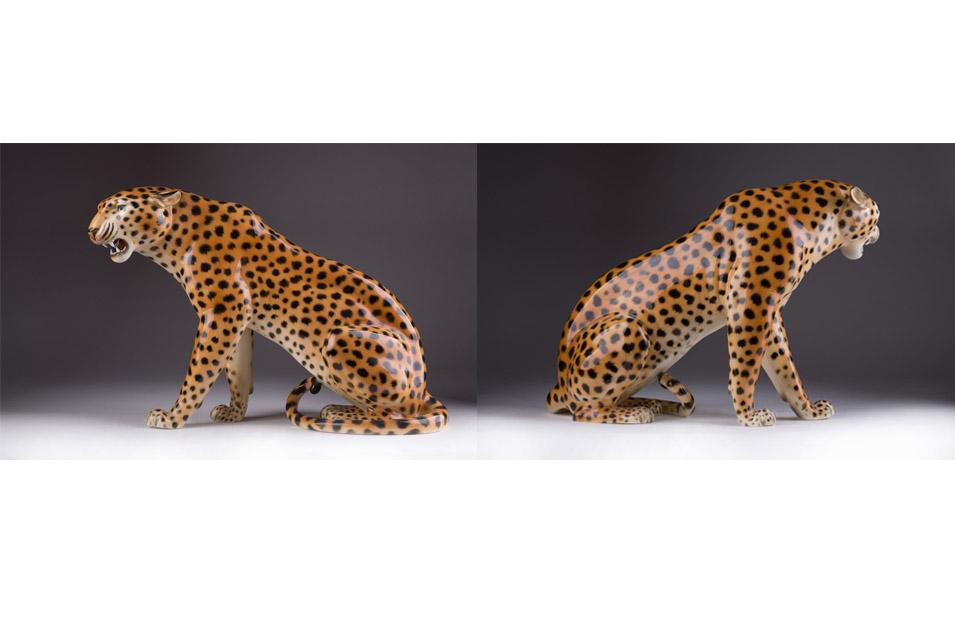"""Фарфоровая скульптура """"Леопард"""" мануфактуры VOLKSTEDT, 25 см"""