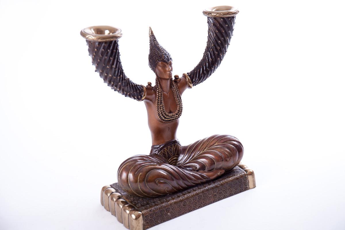 """Бронзовая скульптура-подсвечник Erté """"FORTUNE"""", 24 см"""
