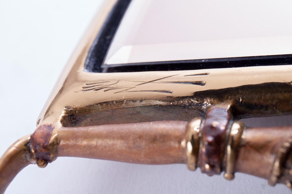 Ручное зеркало Erté ''Indo-China'' из бронзы, 30 см