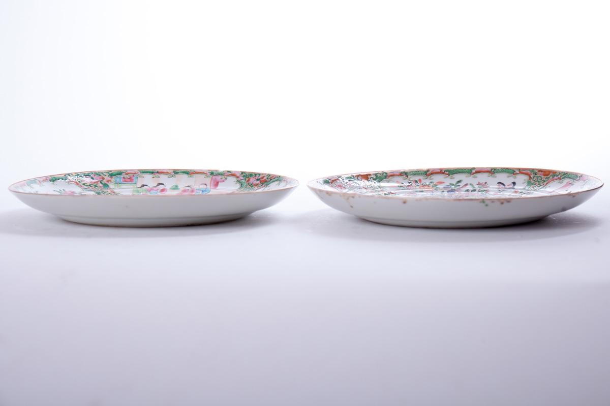 "Пара старинных тарелок ""CANTON FAMILLE ROSE"", 21.5 см"