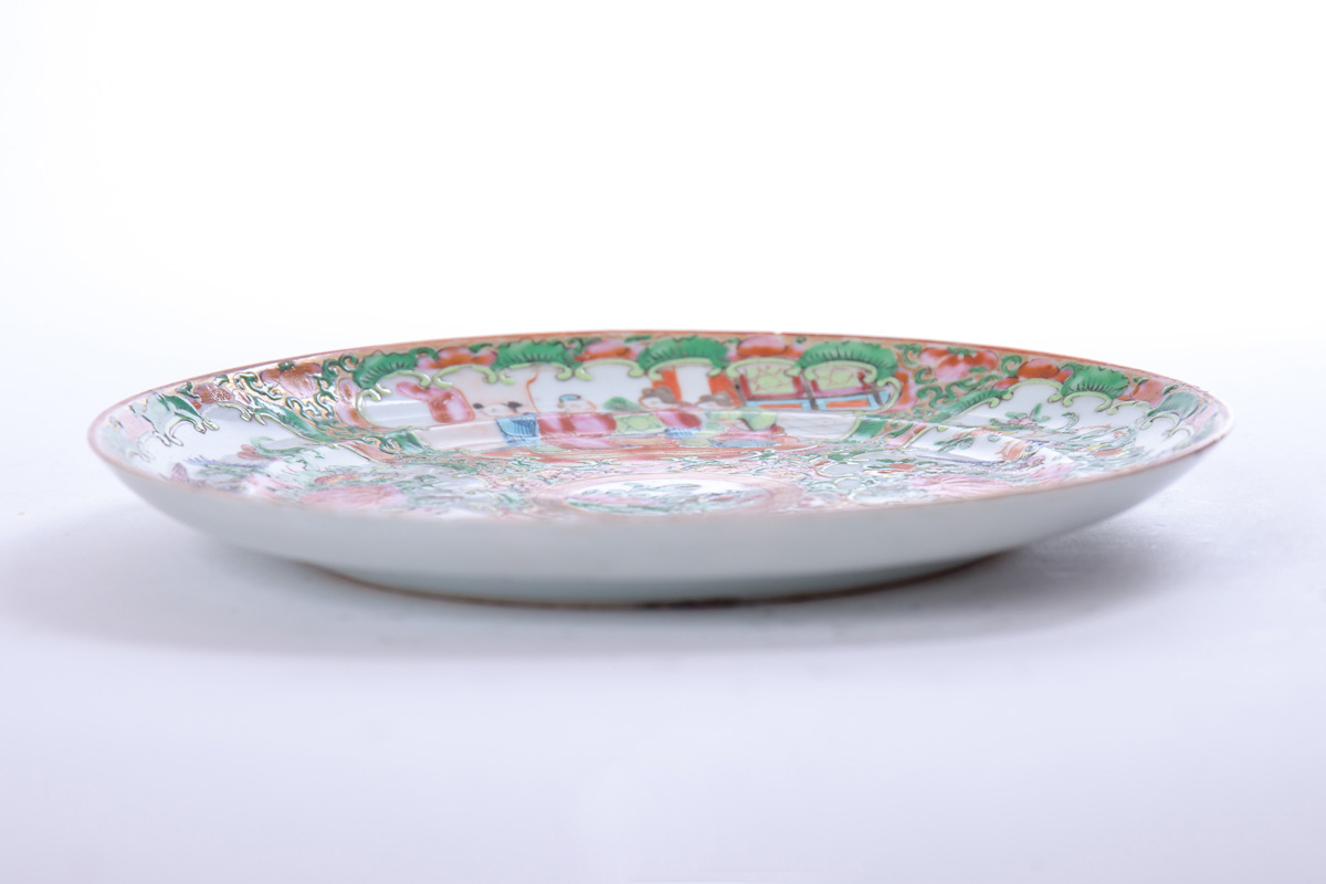 "Старинная тарелка ""CANTON FAMILLE ROSE"", 20 см"