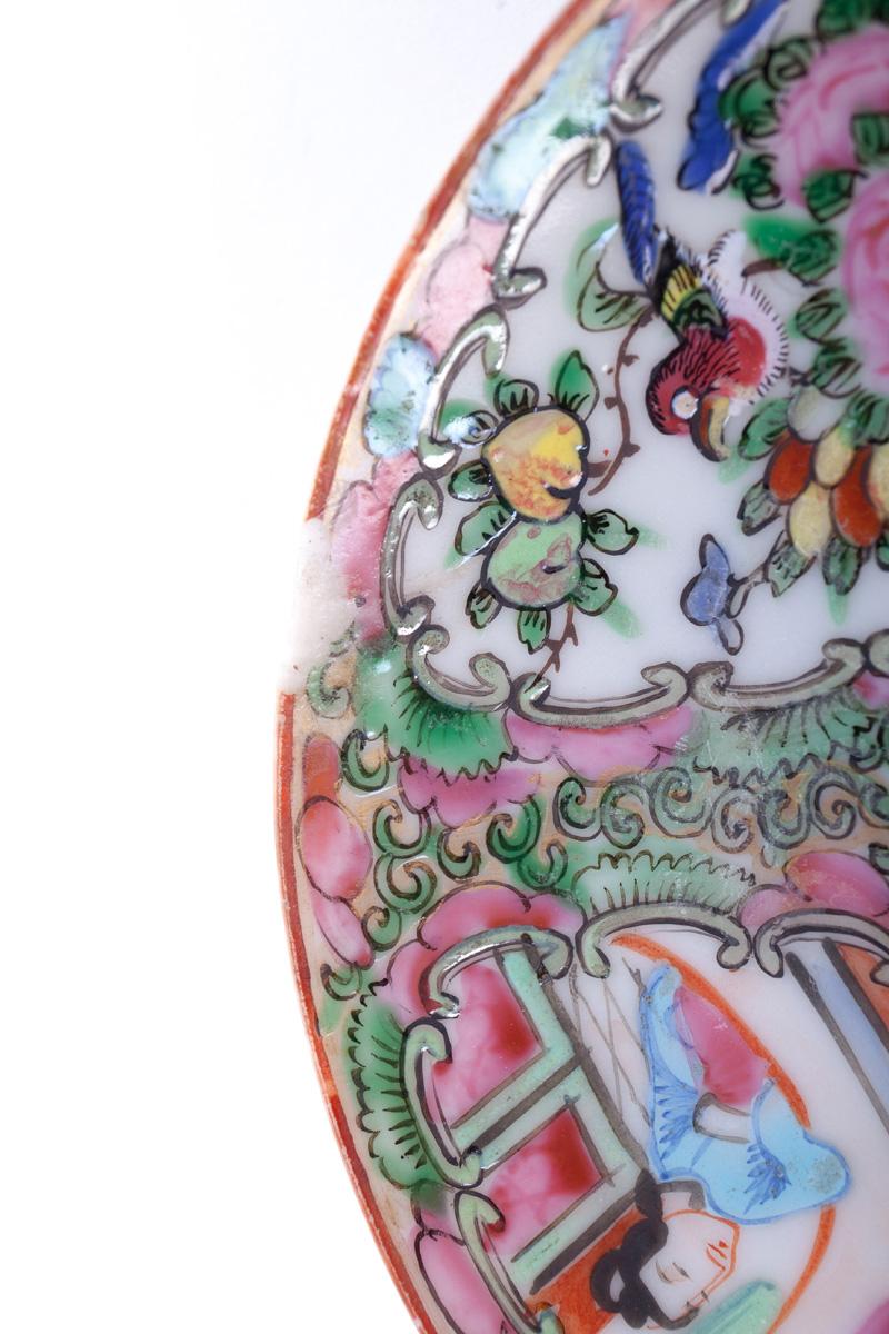 """Старинное блюдце """"CANTON FAMILLE ROSE"""", 13.7 см"""