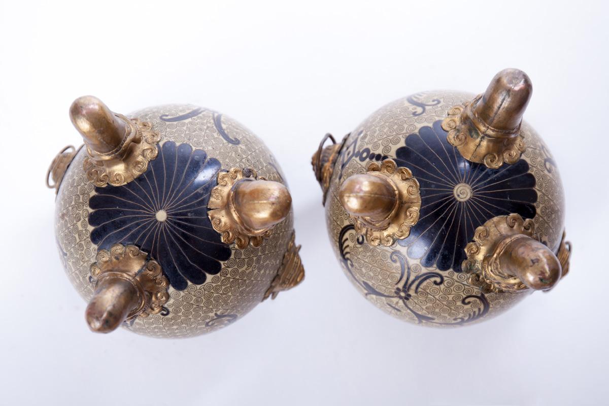 Пара миниатюрных благовонных горелок клуазоне, 18 см