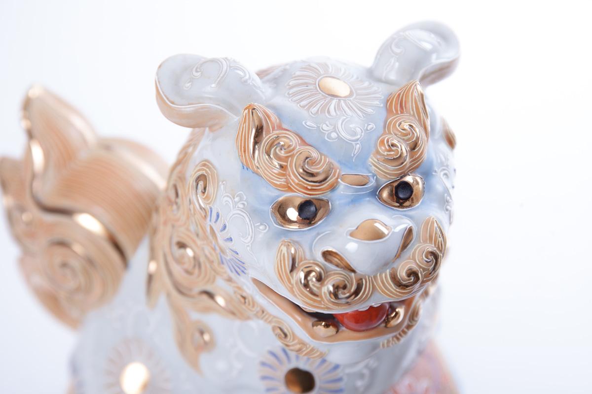 Пара японских собак-львов в стиле SATSUMA, 24 см