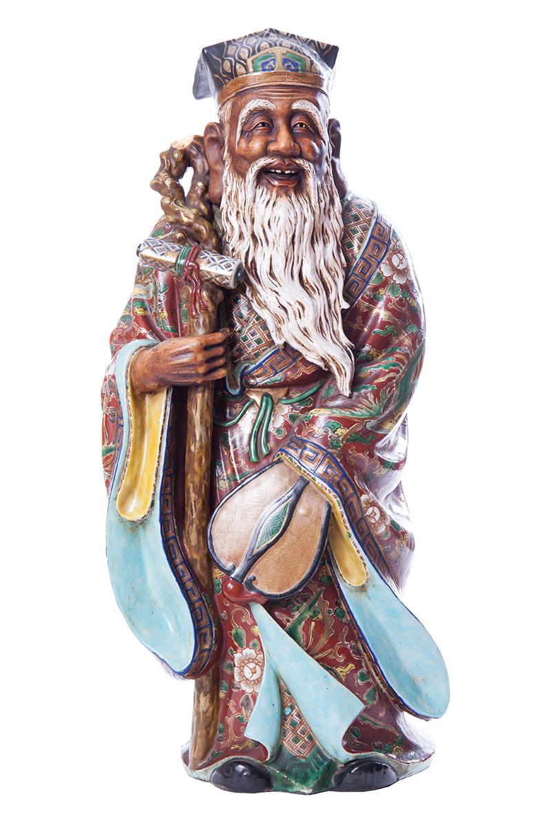 Большая фигура JUROJIN в стиле KUTANI, 55.5 см