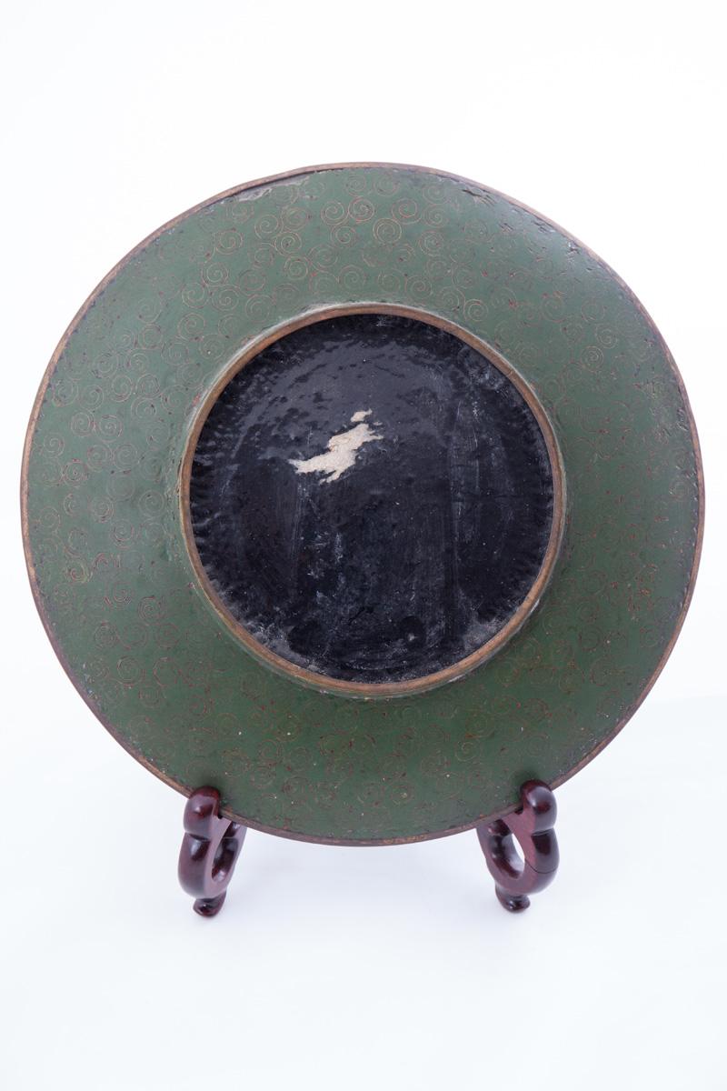 Декоративная тарелка клуазоне с мелким цветочным декором, 30.5 см