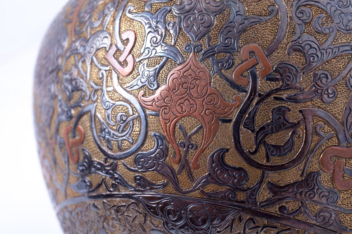 Старинный персидский латунный сосуд, 15.5 см