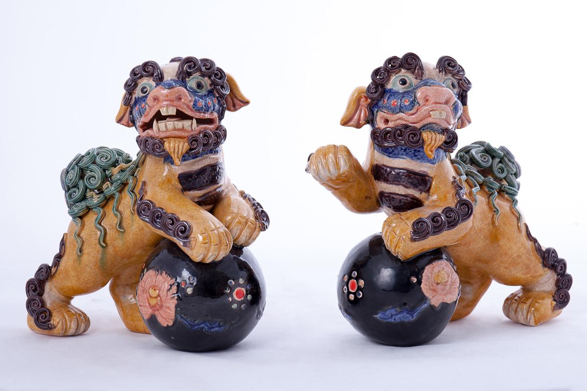 Парные статуэтки японских собак-львов KOMAINU, 19 см