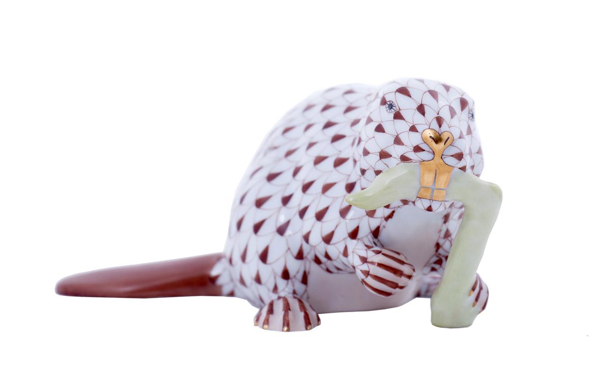 """Миниатюрная фарфоровая статуэтка Herend """"Бобёр"""", 5.7 см"""