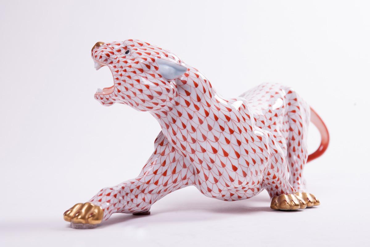 """Большая фарфоровая статуэтка Herend """"Рычащий тигр"""", 45.5 см"""