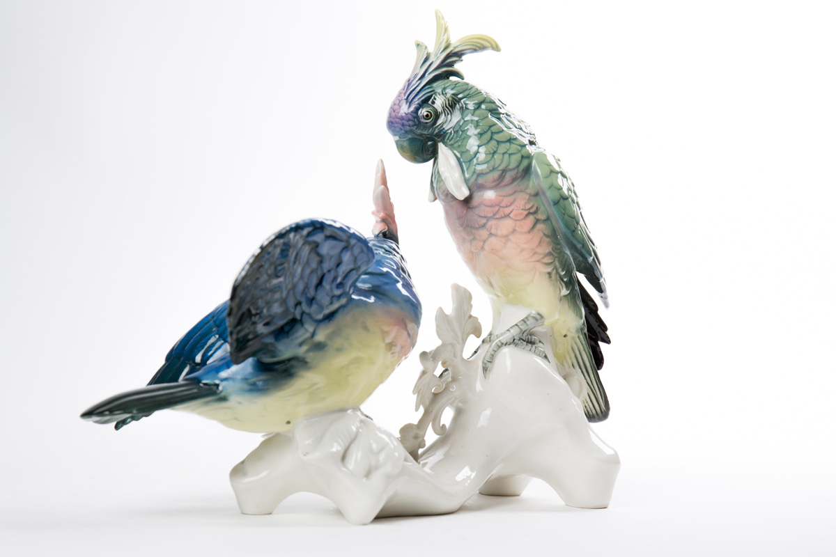 """Фарфоровая статуэтка KARL ENS """"Два попугая"""", 34 см"""