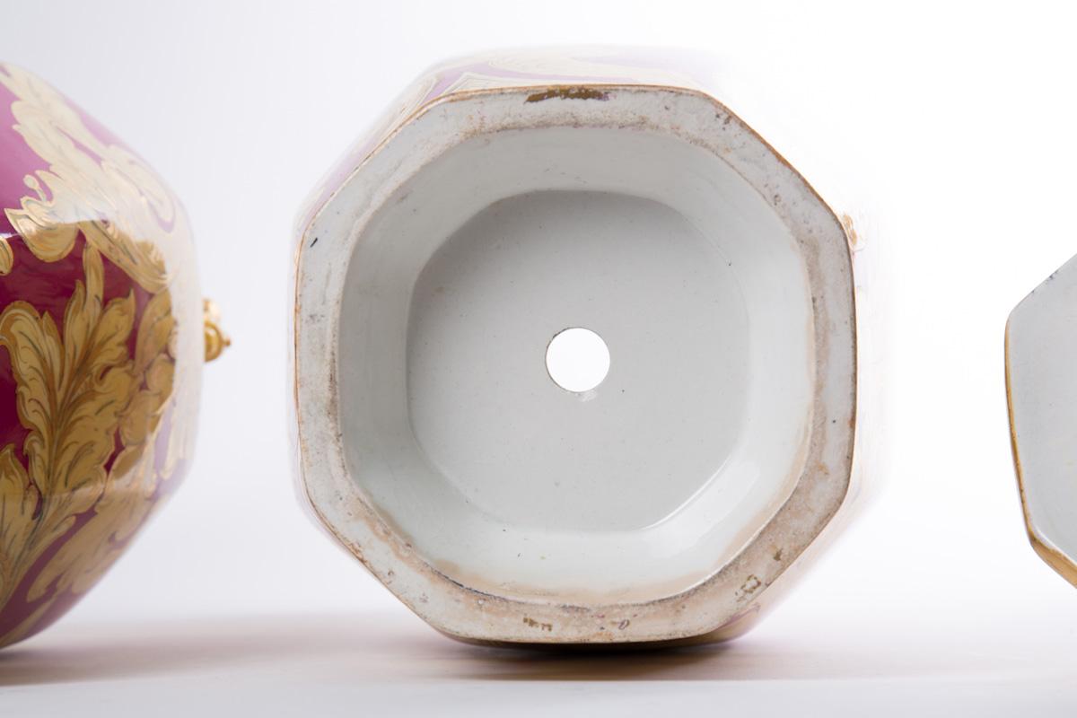 Пара английских ваз в золотисто-коралловых тонах, 50 см