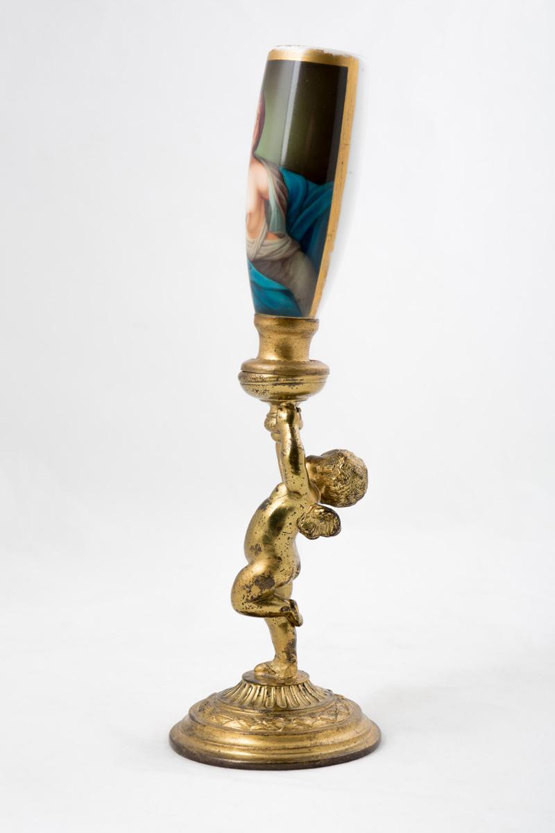 """Подсвечник с женским портретом компании """"Pairpoint"""" (США), 23.4 см"""