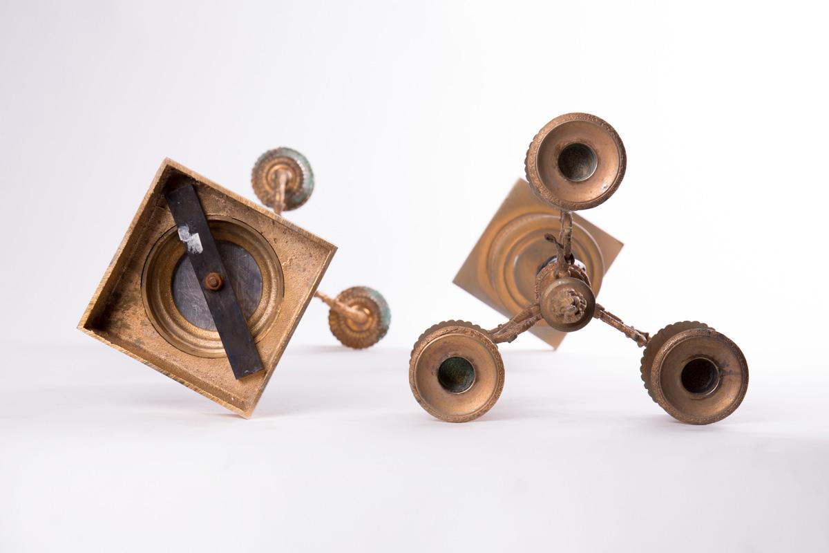 Итальянские бронзовые канделябры с женскими фигурами, 46 см