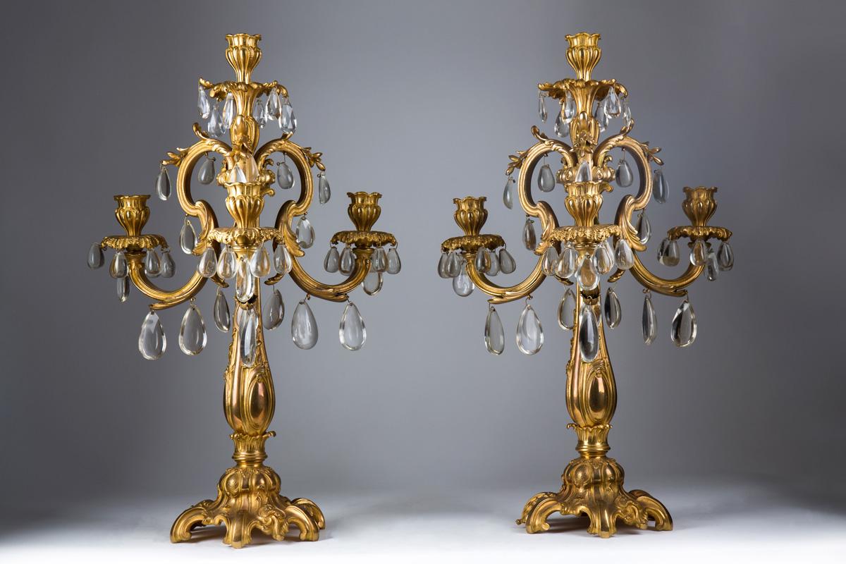Парные французские канделябры в стиле Людовика XV, 57 см