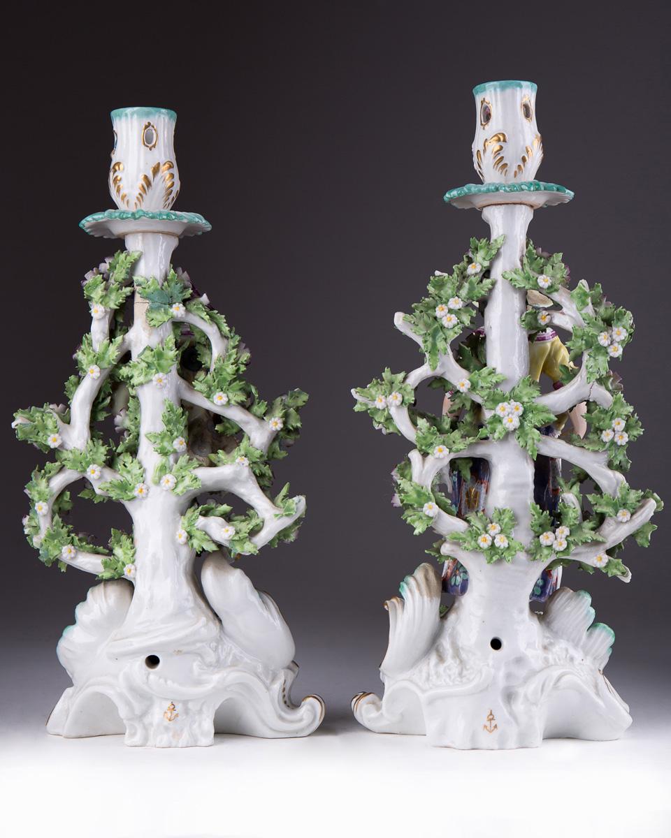Скульптурные фарфоровые подсвечники EDME SAMSON, 29.5 см