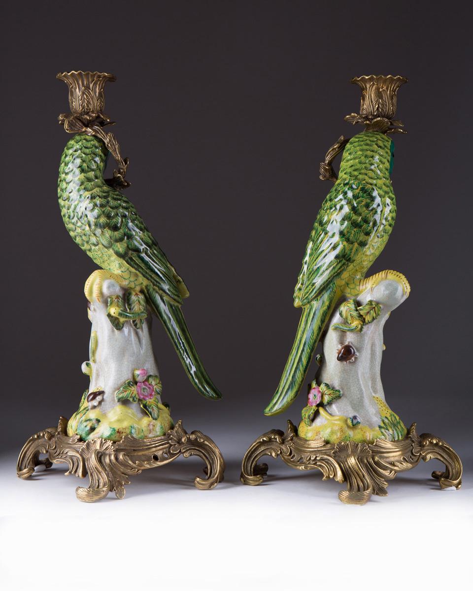 Подсвечники в виде зелёных попугаев, 36 см