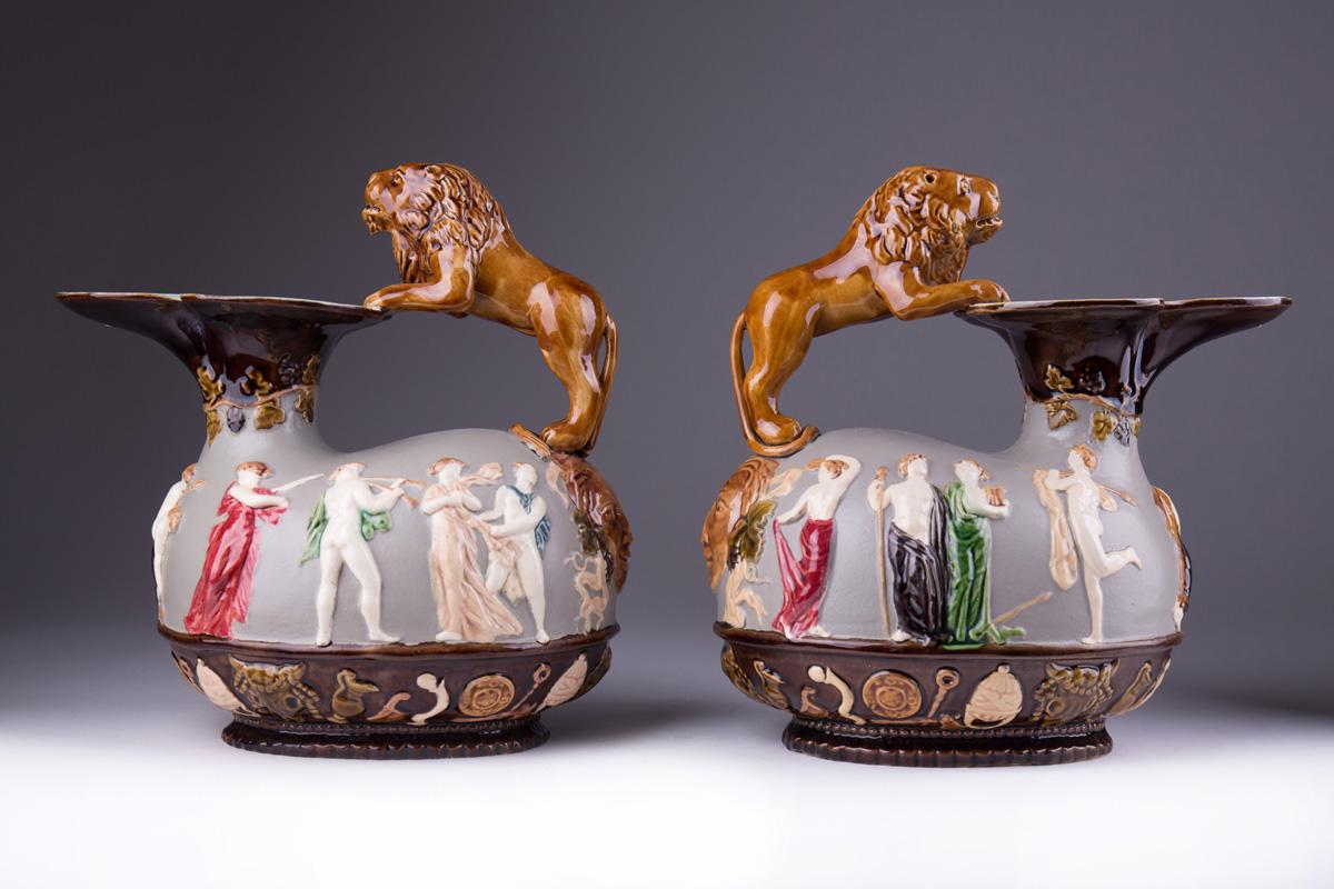 Парные керамические кувшины с ручками в виде львов, 23 см