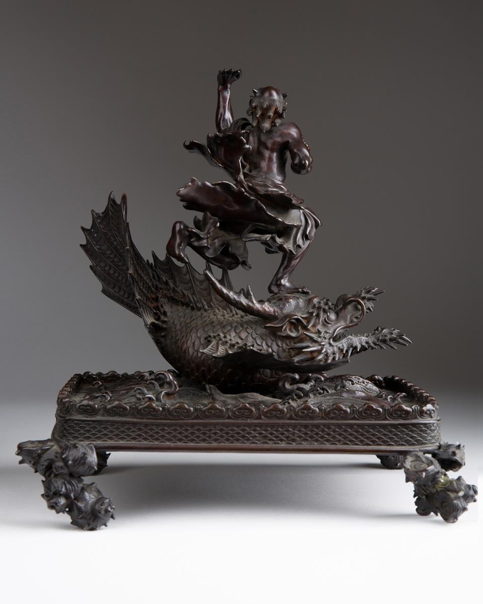 "Японская скульптура ""Ryujin на Рыбе-Драконе"", 23.5 см"