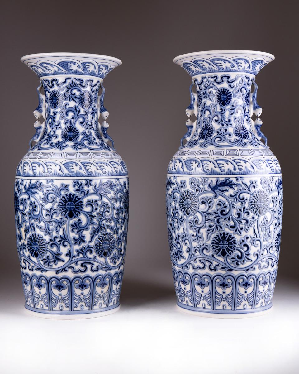 "Парные вазы LLADRO ""PEKINESE"", 48 см"