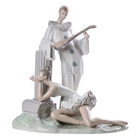 "Большая скульптура LLADRO ""PENSIVE PIERROT"", 38 см"