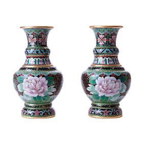 Парные миниатюрные вазы с птицами и цветочным декором, 15.5 см