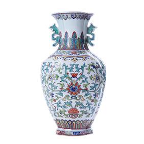 Китайская ваза необычной формы с цветочным орнаментом, 36 см