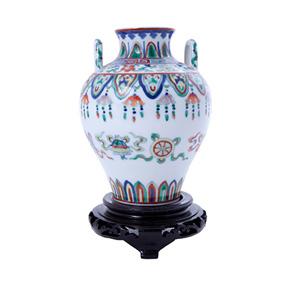 Миниатюрная ваза с ручками на деревянной подставке, 17.5 см