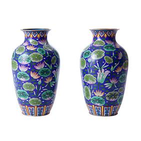 Парные вазы с изображением кувшинок, 25 см
