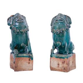 Пара старинных изумрудных собак FOO на пьедесталах, 20 см