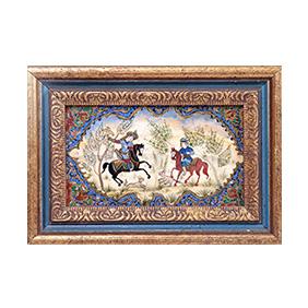 Восточная живопись с изображением охотничьей сцены, 20 x 37.5 см