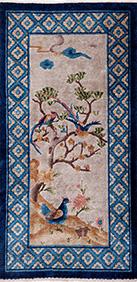 Шелковый ковёр в стиле арт-деко с изображением птиц, 122.5 x 63 см