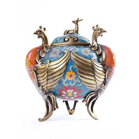 Благовонная горелка клуазоне с изображением птиц Феникс, 20.5 см