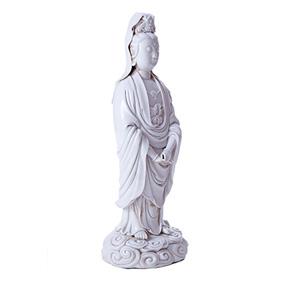 Фарфоровая статуэтка Божества Guan Yin на облаках, 33.5 см