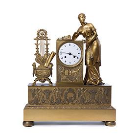 Французские часы с фигурой Богини Эвтерпы, 54 см
