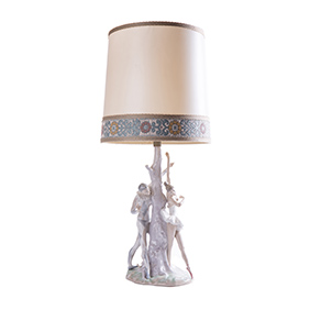 """Настольная фарфоровая лампа Lladro """"Балерина и Арлекин"""", 68.5 см"""