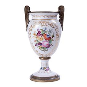 Французская ваза с цветочным декором и с ручками из бронзы, 33.5 см