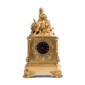 Французские бронзовые каминные часы, 46 см