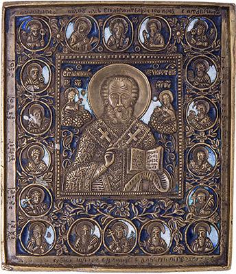 Плакетка (медная икона) с эмалями