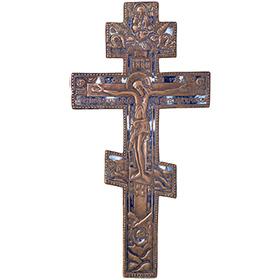 Бронзовый крест с эмалями
