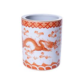 Фарфоровый сосуд с изображением драконов и пылающей жемчужины, 14.5 см