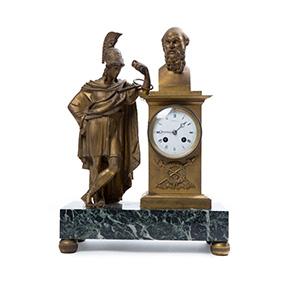 Французские бронзовые часы на мраморном основании, 46 см
