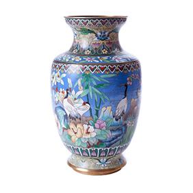 Настольная ваза с изображением журавлей, 26 см
