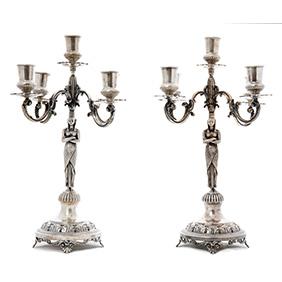 Пара серебряных подсвечники в египетском стиле, 2 кг 120 грамм